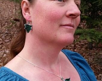 Ivy Leaf Necklace & Earrings Set