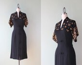 1940s Dress / 1940s Sequined Dress / Vintage 40s Rayon Kimono Sleeve Cocktail Dress