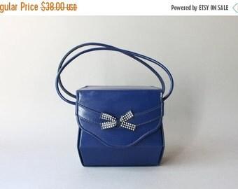 STOREWIDE SALE 1940s Purse / Vintage 40s Royal Blue Bow Bag / 1950s Box Bag
