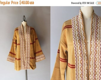 STOREWIDE SALE 1970s Cardigan / Vintage 70s Patterned Striped Cardigan / Bell Sleeve Zig Zag Border 70s Acrylic Sweater