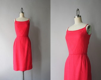 1960s Dress / Vintage 60s Little Red Dress / 50s Linen Wiggle Dress