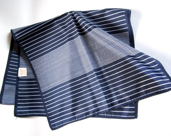 Vintage Glentex stripe print navy blue nylon scarf Made in Japan MIJ