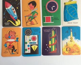 Set of 8 vintage Orbit cards vintage space