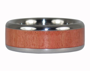 Pink Ivory Wood Titanium Ring