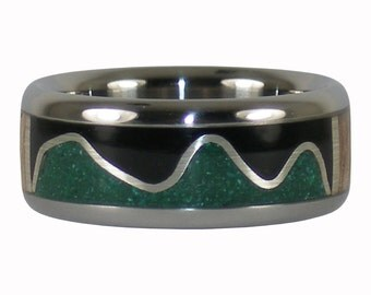 Green and Black Stone Ring with Mango Wood