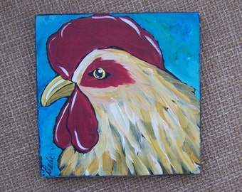 Rooster Chicken Painting One of a Kind original folk Art Painting rustic Farmhouse Decor Free Shipping