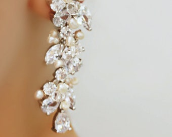 Rhinestone, Freshwater Pearl and Swarovski Crystal Bridal Earrings
