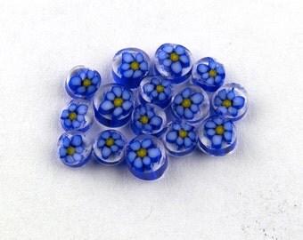 Handmade Lampwork Murrine SM Blue/Lavender Daisy 104 COE Murrini slices 15 - R