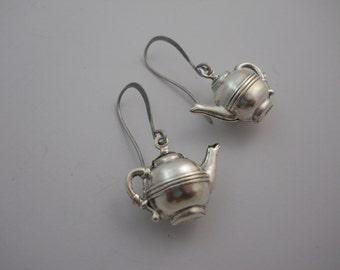 Silver Metal Tea Kettle Earrings on Long Rounded Silver Metal Ear Wires Fancy a Spot of Tea  Fun Statement Earrings