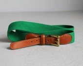 vintage Dooney & Bourke green fabric and leather belt w/ solid brass buckle