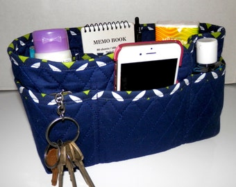 "Purse Organizer Insert/4"" Depth Enclosed Bottom/Quilted/ Navy Blue"