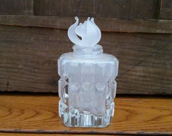 Vintage Cut Glass Perfume Bottle Decanter with Glass Stopper