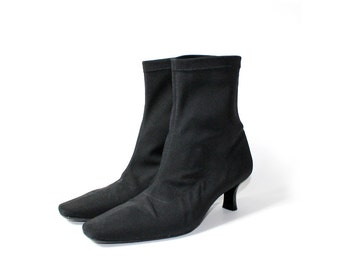 SALE - 1990s Minimal Black Fabric Chelsea Ankle Boots