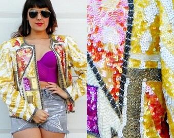 1980s Vintage Oleg Cassini Yellow Sequin Blazer Yellow Silk Jacket Glam Jacket Pink Wings Tiger Striped Blazer Size Medium