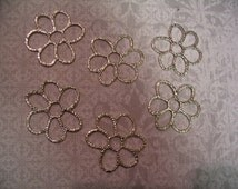 6 Daisy Flower Connector Charms Jewelry or Craft Supplies