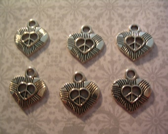 6 Peace Sign Heart Charms Jewelry Supplies