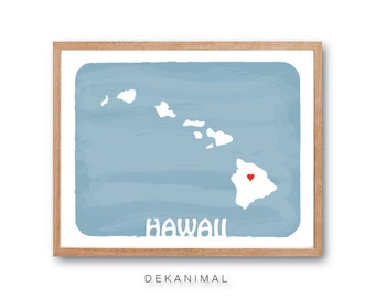 HAWAII Map - PASTEL BLUE, State map, Illustration, silhouette art, Personalized Wedding Gift, Custom map, Watercolor, Typography, Drawing