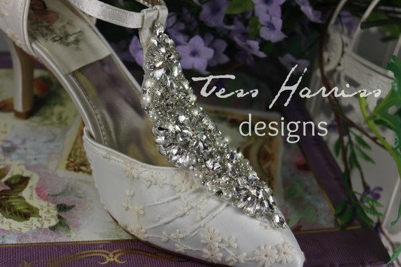 Lace Rhinestone Wedding Shoes . Crystal Pearl Bridal Heels . Ivory Lace Shoes . T Strap . Ankle Strap . Bridal Pumps . Sparkly Bridal Shoes