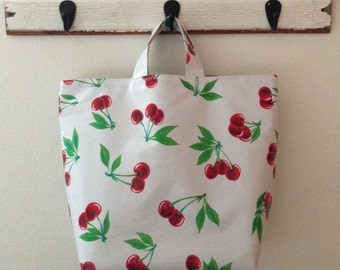 Beth's Red Cherry Oilcloth Grocery Market Tote Bag