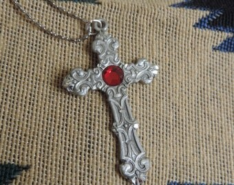 Large Pewter Cross Pendant with Chain by Fable