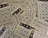 Set of 10 Vintage Bingo Cards, Black Printed Cards, Cardboard Bingo Cards, Crafts, Scrapbooking, Invitations, Journaling, Children's Party