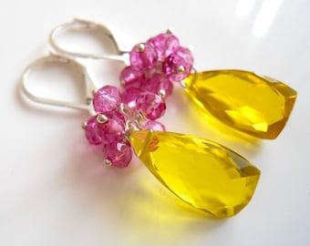 Lemon Earrings, Raspberry Lemonade Pyramid Cut Earrings, quartz, lever back earrings option, gemstone earrings