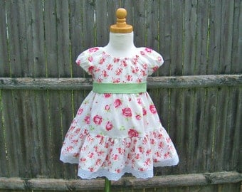 Baby girl, peasant dress, pink and red roses, size 12 Mo, tiered skirt, ready to ship, summer spring, shabby roses, party dress, baby gift