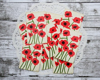 Vintage Poppy Playing Cards. Red Poppies. Mixed Media Supply. Junk Journal.