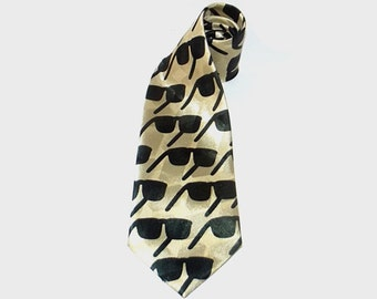 1980s tie / vintage 80s men's tie / sunglasses / Men's Gold Silk Sunglasses Tie