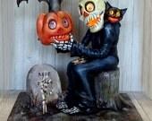 Handmade OOAK Halloween Lighted Luminary Table Center Piece Matthew Kirscht Inspired Sculpture Skeleton JOL Bat Cat