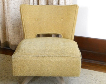 Vintage Kroehler Swivel Slipper Chair  • Mid Century Upholstered Lounge Chair • Yellow Upholstered Chair