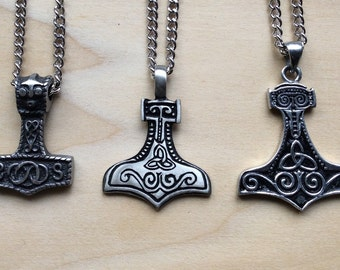 Thors Hammer Mens Necklace Mens Pendant Mjolnir Necklace Viking Necklace Viking Jewelry