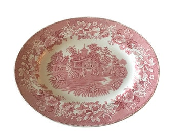 Wedgwood Porcelain Serving Platter, Pink Vintage English Pottery, Historic Town Scene, Country Living Style, Farmhouse Decor