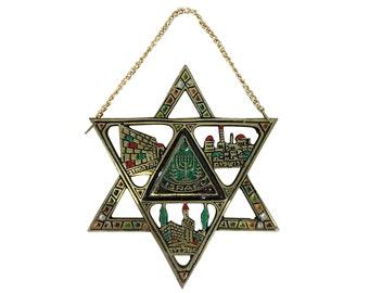 Vintage Israel Star of David Wall Hanging, Brass & Enamel