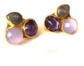 15% Discount Triple Stone Gold Stud Earrings with Pink Quartz, Amethyst and Labrodorite Stones
