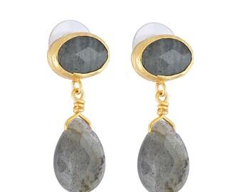 Grey Labradorite Stones Earring