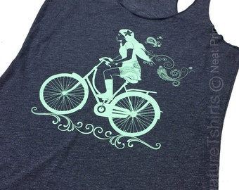Womens Tank Top, Vintage style Tank Top, Summer Tank, Girl on bike tank top, fashion shirt, Birthday Gift, Wife Gift, Gift for sister, blue