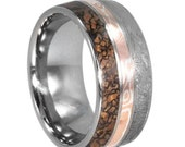 His or Her Wedding Ring, Unique Wedding Ring w Dinosaur Bone, Mokume Gane, and Meteorite for Him or Her