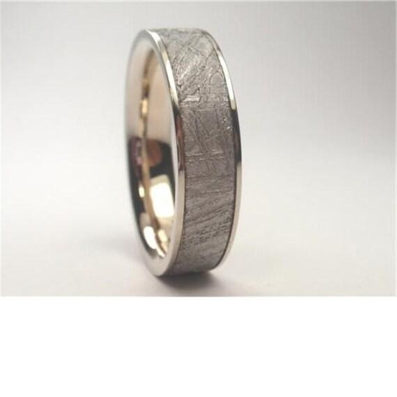 Beautiful Meteorite Wedding Band, 10k White Gold Ring