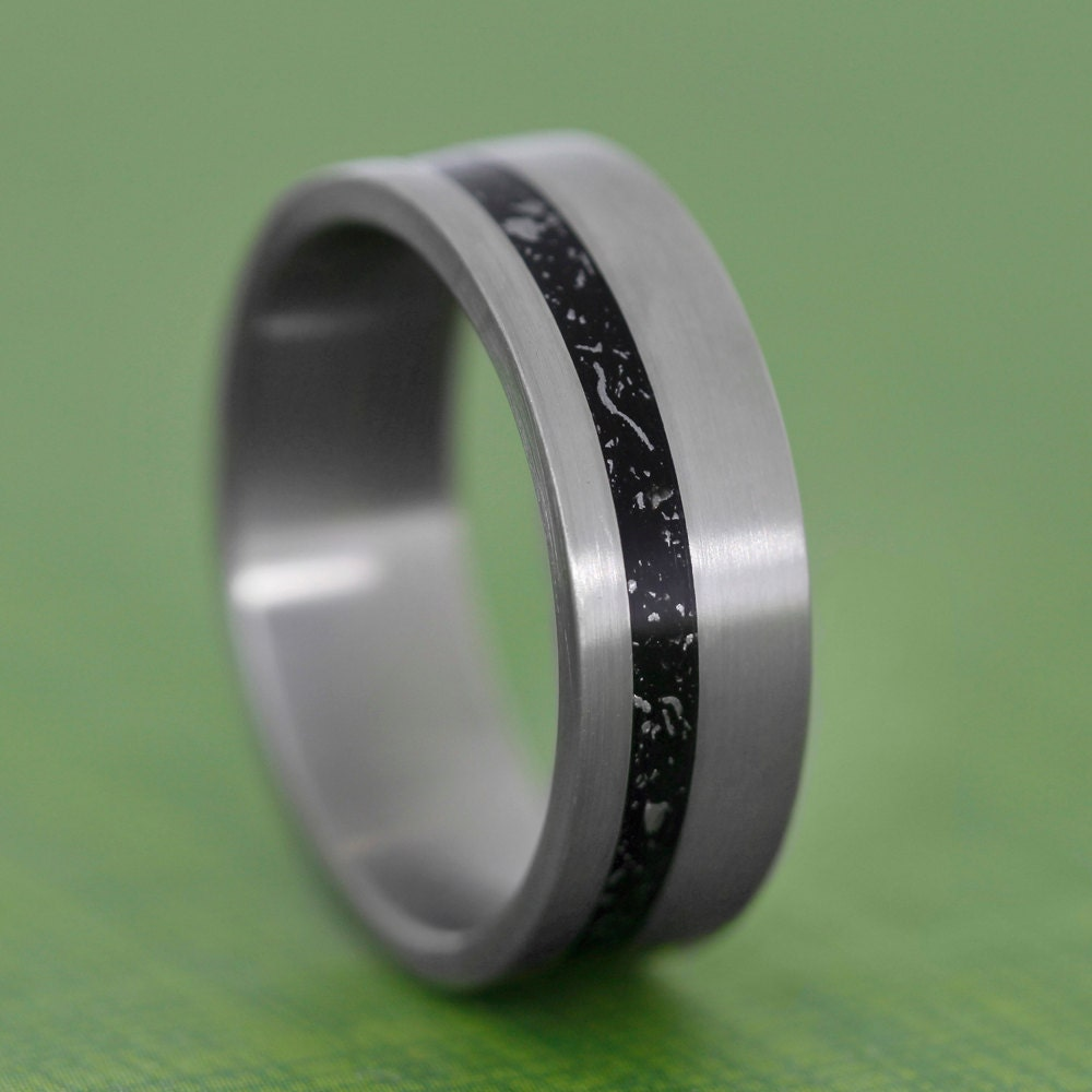 unique meteorite ring titanium wedding band with by