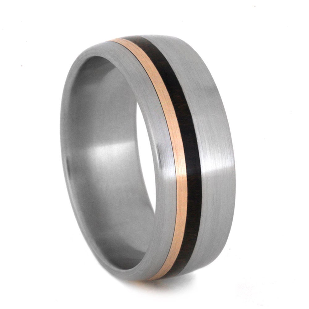wood ring 14k gold wedding band in titanium by