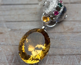 Large Citrine Pendant, Statement Necklace, Large Gemstone Pendant Necklace, Handmade