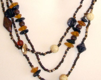 vintage amber gold white and brown 3 strand beaded necklace