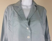 Vtg Neiman-Marcus NOS pure silk tailored blouse with buttonhole cuffs size 16 chest 44in.