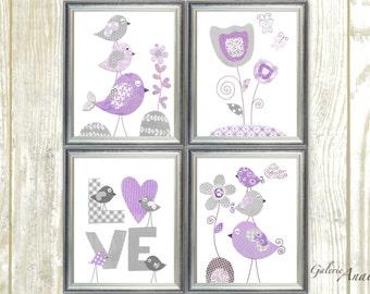Baby nursery decor girl Purple and gray Nursery Art kids art Baby Nursery wall art love Birds nursery Flower nursery - Set of 4 prints