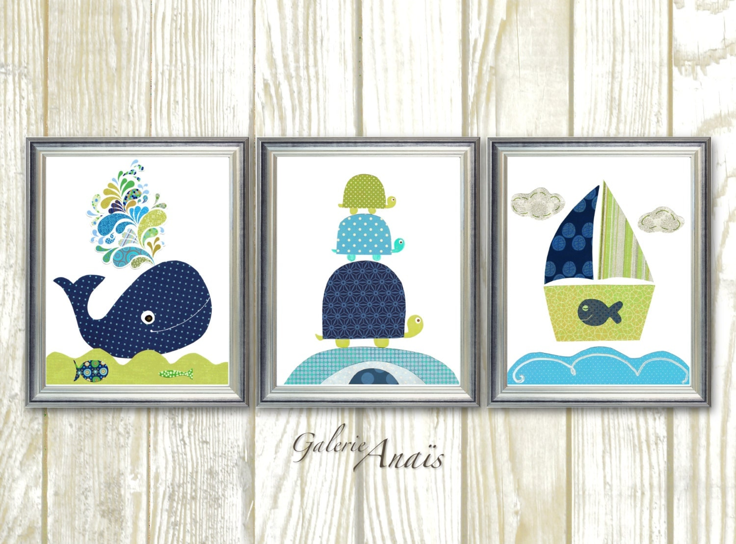 Navy Bathroom Wall Decor : Blue navy green nautical nursery wall art bathroom