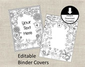 Binder Covers Insert Doodle Color Page Adult Color Page School Student Teacher Editable Binder Cover Printable Set of 2 Flowers Birds