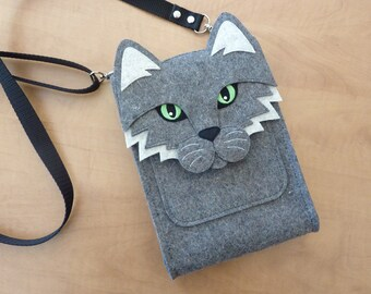 Cat purse with pocket for iPad mini 1, 2, 3, 4 or smaller devices