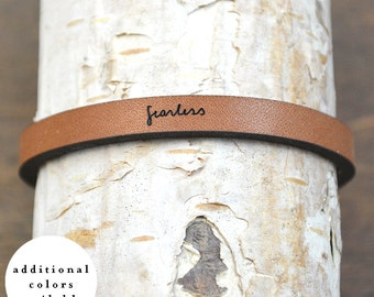 fearless - adjustable leather bracelet  (additional colors available)