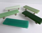 Decorative Green Fused Glass Cabinet or Drawer Pulls